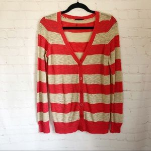 💐5/$25!💐Coral stripe boyfriend cardigan sweater